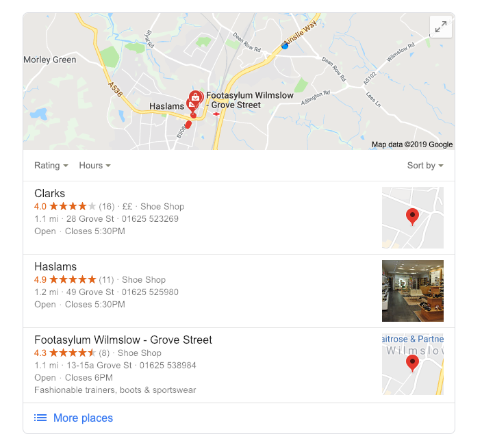 Local Search Results Map Pack